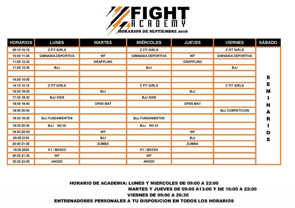 horario Z fight academy artes marciales en gandia
